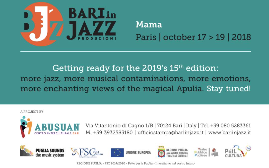 Bari in Jazz è al MaMA, Paris dal 17 al 19 ottobre